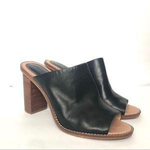 Madewell Black Leather Stacked Heel Mule